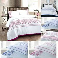 Antalia Luxury Embroidered Floral Duvet Cover Set Bedding Single Double King