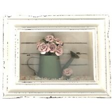Beautiful wall decoration picture frame With Miniature Watering Can And Flowers