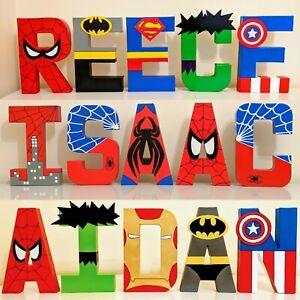 Childrens personalised letters names. Avengers Marvel superhero boys batman gift