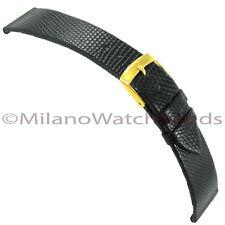 18mm Morellato Genuine Java Lizard Flat Unstitched Black Tapered Watch Band 117
