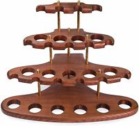 Wooden Tobacco Pipe Stand Rack Hold Display For 15 Smoking Pipes Holder Stand