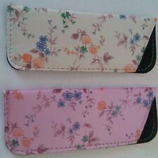 2 Floral Soft Slide-in Eyeglasses Cases Pink / Ivory Multi colors floral Prints