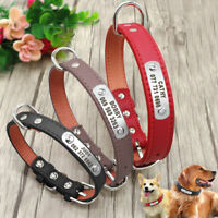 Personalised Leather Dog Collars Engraved Pet Puppy ID Name Custom Free S M L XL