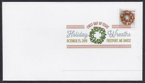 US 5426 Holiday Wreaths Gold & Red Ribbon DCP FDC 2019