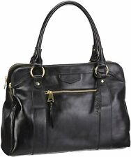 CLARKS Black Genuine Leather Large Work Casual Shopper Tote Handbag Grab Bag