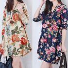Womens Loose Linen Shirt Long Sleeve Floral V-Neck Pregnant Maternity Dress H24