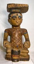VINTAGE Asian Wooden Hand Carved  Statue; Folk Art Paint Added LARGE
