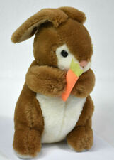 Vintage Plush1986 Bunny Holding a Carrot 12 inch Animal Playthings brown & white
