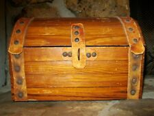 Vtg Authentic Handcrafted Mini Wood Leather Barrel Top Treasure Chest Trunk Box