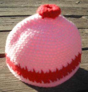 Adorable Red and Pink Contrast Newborn Beanie - Handmade by Michaela