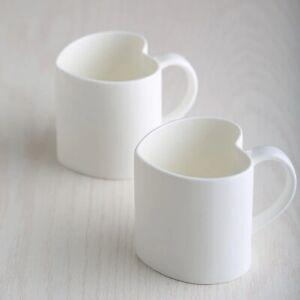 2 Pcs Plain White Bone China Heart Mug Porcelain Keep Cup Tumbler Coffee Cup Mug