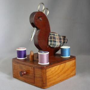 Vtg 1940s Duck Wood Sewing Caddy Holder Box for Scissors & Thread Spool Folk Art