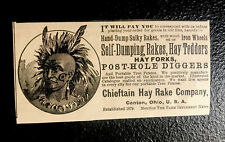 1886 Chieftain Hay Rake Co. Farm Machinery Advertising - Canton - Ohio - Indian