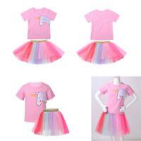 Girls 2Pcs Clothing Outfits Kid Tops T-Shirts + Rainbow Tulle Tutu Skirt Costume