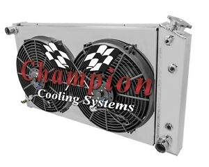 1968-1977 Chevy El Camino 3 Row Champion Cooling Radiator With Shroud And Fans