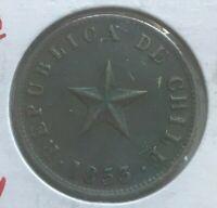 1853 Chile 1 One Centavo - Nice Copper