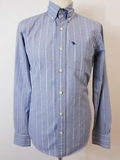 Men's Blue & White Striped Shirt by Abercrombie & Fitch. Size Small