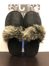 Bare Hugs Faux Fur Fleece Lined  Memory Foam Womens Clog Slippers Sz 8-9/6.5-7.5