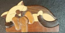 Carver Dan's Cat with Bow Wooden Puzzle Box  USED