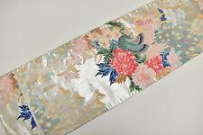 VINTAGE SILK FUKURO OBI BELT:Gorgeous Peacock/Tree Peony/Cattleya@Y15