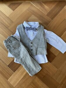 Baby Boy Occasion Mamas & Papas Suit Bow Tie Christening Wedding Clothes 3-6 M