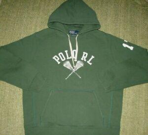 Polo RALPH LAUREN Sharp Lacrosse Graphic LoGo Hoodie Sweatshirt Men's Large L