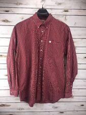 Cinch Red & White Striped Long Sleeve Button Front Cotton Shirt Men's Sz XL