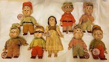 1937 Antique Vintage DISNEY dolls SNOW WHITE & 7 DWARFS SET Knickerbocker w/tags