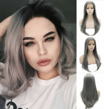 """24"""" Long Straight Dark Grey Heat Resistant Lace Front Wig Natural Wig"""