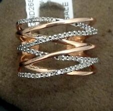 Open Fashion stackable Ring Pave Diamonds Right Hand Rose Gold 0.25ct Vintage