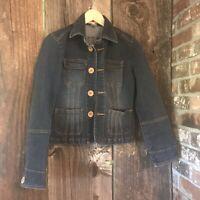 Tulle Womens Size S Jean Denim Jacket Blazer Button Up Stretch Fitted Dark Wash