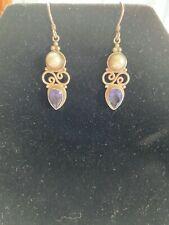 925 Sterling Silver Pearl Sapphire Earrings Ear Hook Drop Dangle EUC  D26