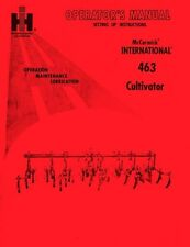 International Harvester McCormick 463 Cultivator Owner Operators Manual IH
