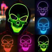 Halloween squelette masque LED Glow effrayant masque EL-Wire allument des masque