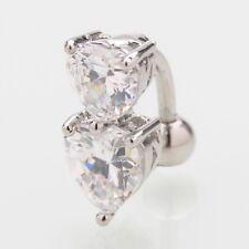 (88-10)  Bauchnabelpiercing  Piercing Stecker Doppelherz Silber-Kristal