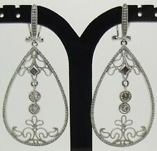 9CT WHITE GOLD 228 x DIAMOND 2.03 CARATS DROP/DANGLE EARRINGS - VALUED AT $6148