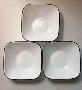 Corelle Vitrelle Square Clean Lines Soup Cereal Bowls With Black Trim (3)