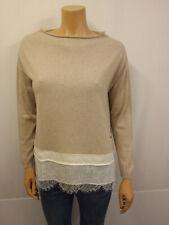 FAY Designer Pullover Gr.XL 40/42 Baumwolle Spitzenbesatz Spitze Beige Creme