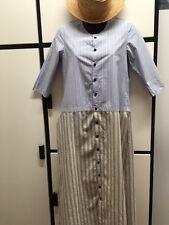 Kapital Japan XS Cotton Blue Natural Combo Round Neck Long Tunic Dress