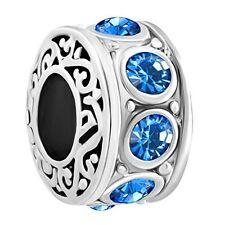 Filigree Birthstone Blue September Crystal Bead Pandora Charms Bracelet