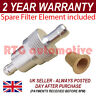 SILVER 6mm & SPARE ELEMENT METAL UNIVERSAL IN LINE FUEL FILTER ALUMINIUM