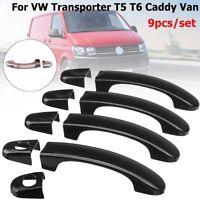 9pcs Gloss Black Door Handle Covers ABS For VW TRANSPORTER T5 T6 CADDY VAN