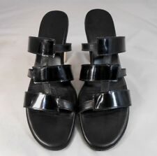 Munro American Womens Strappy Heels Pumps Size 7.5 Patent & Smooth Straps Black