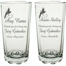 Personalised Engraved Hi ball mixer vodka glass Tinkerbell fairy Godmother Gift