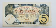 French West Africa: Banque De L'Afrique Occidentale. Algeria 5 francs 1924