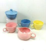 Vintage Pastel Creamer Sugar Bowl Cups Blue Pink Yellow Unmarked