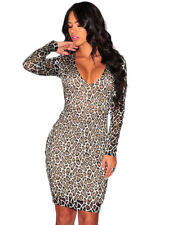 Silver Leopard Textured Lace Long Sleeves Mini Dress