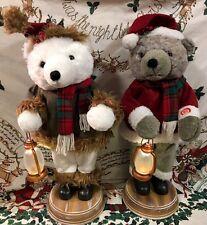 "Santa Christmas Motionette Bears Musical Figures 27"" S/2 Tabletop Decor Tree"