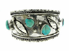 Natural Turquoise Stone Bracelet Cuff Navajo Sterling Silver Studded Leaf