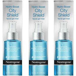 3 Neutrogena Hydro Boost City Shield Facial Gel Mist Hydrates Skin Each 3.3 oz